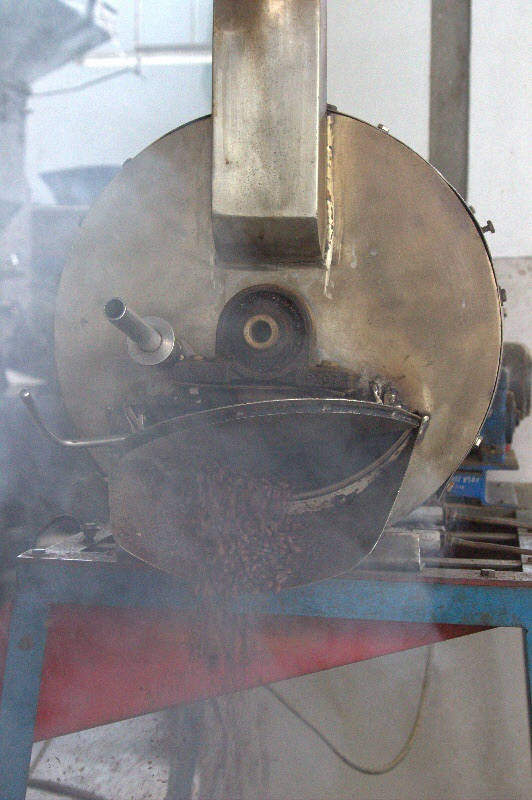 Der Kaffee ist fertig geröstet und wird aus der Maschine befreit.
